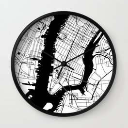 New York City Minimal Map Wall Clock