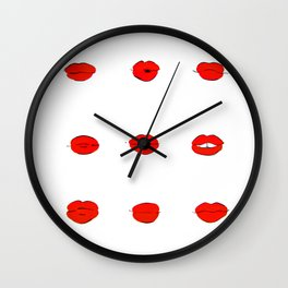 Red Lips Pattern Wall Clock