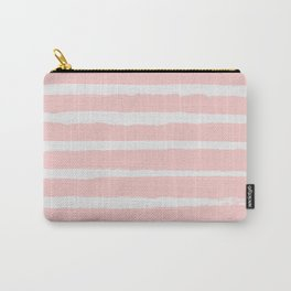 Irregular Hand Painted Stripes Pink Carry-All Pouch