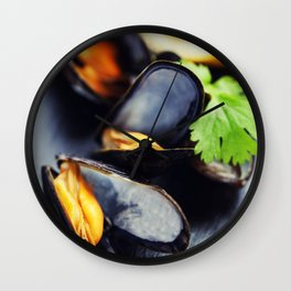 group of boiled mussels in shells Wall Clock