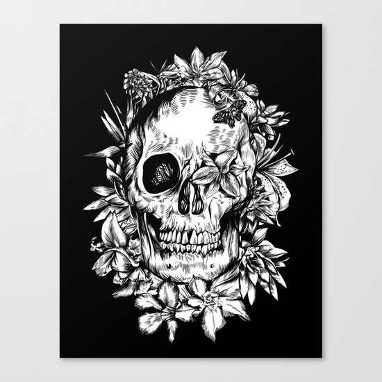 floral skull drawing black and white 2 Canvas Print
