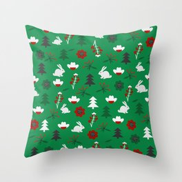 Christmas joy with little rabbits Throw Pillow