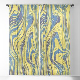 Marbled Yellow and Blue Sheer Curtain