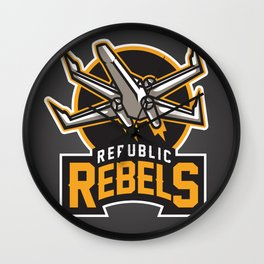 Republic Rebels - Black Wall Clock