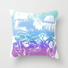 Monkeys in living Color Throw Pillow