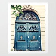 Paris door, navy, grand Art Print