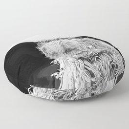 hairy havanese dog vector art black white Floor Pillow