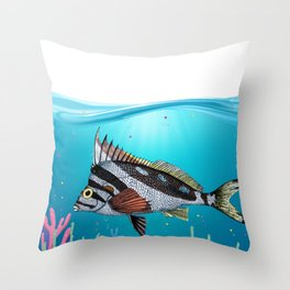 Nautical marine life sea world shark stickers and decor Throw Pillow