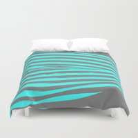 stripes Duvet Covers featuring Aqua & Gray Stripes by 2sweet4words Designs