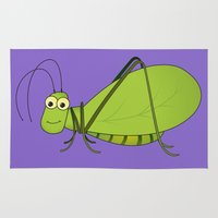 kevin russ Area & Throw Rugs featuring Kevin the Katydid by Insect Interviews