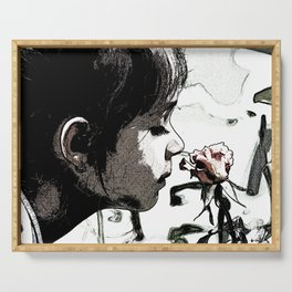 Print of little girl smelling the garden rose, floral print Serving Tray