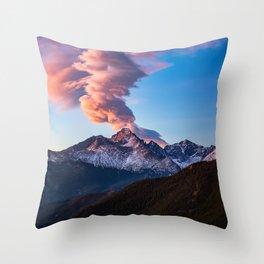 Fire on the Mountain - Sunrise Illuminates Cloud Over Longs Peak in Colorado Throw Pillow