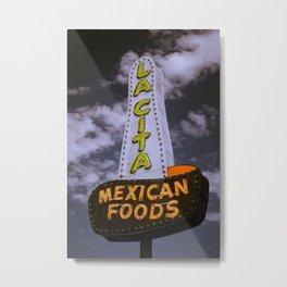 Vintage Neon Sign Nostalgia Route 66 La City Mexican Foods Tucumcari New Mexico Metal Print