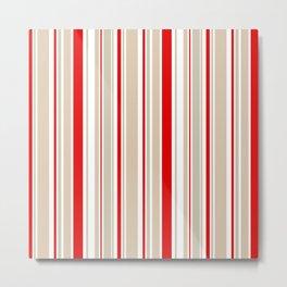 Nautical Red and White Stripe Metal Print