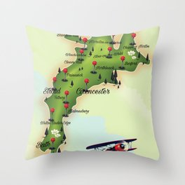 The Cotswolds Vintage Map Throw Pillow