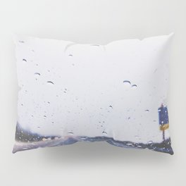 on the road with the rain storm Pillow Sham