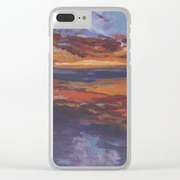 Purple sunset, travel painting Clear iPhone Case