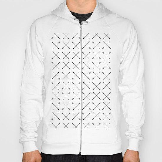 Crossed Arrows Pattern - Black and white Hoody