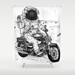 Moon Biker Shower Curtain