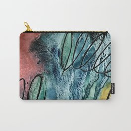 Motion: an abstract mixed media piece in muted primary colors Carry-All Pouch