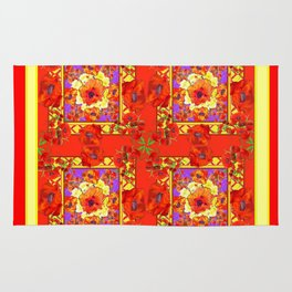 PATTERNED  RED & GOLD ART DECO ORANGE-RED POPPIES Rug