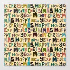 cream merry christmas and happy new year Canvas Print