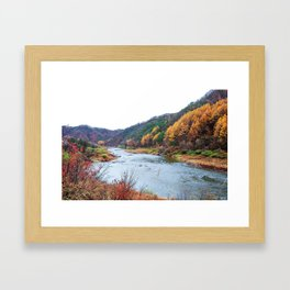 Scenic Fall Nature Lanscape with Stream and Hills Framed Art Print