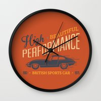 sport Wall Clocks featuring Vintage British Sport Car by Thyme