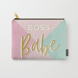 Faux Gold Glitter Boss Babe on simple geometry Carry-All Pouch