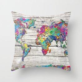 world map wood 4 Throw Pillow