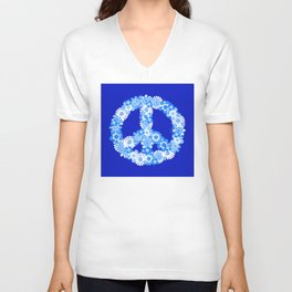 Peace Sign Floral Blue Unisex V-Neck