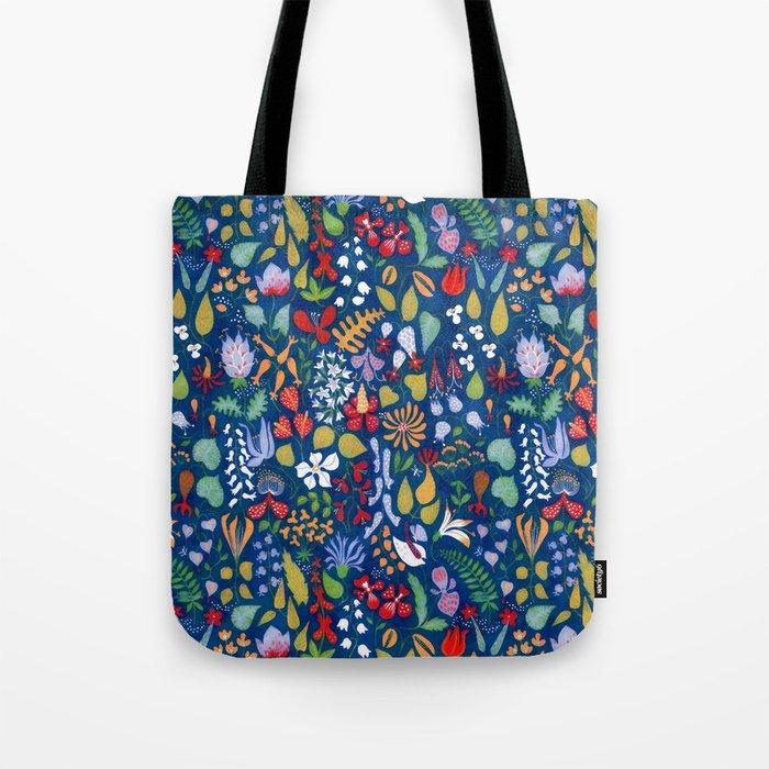 Colorful botanical pattern Tote Bag