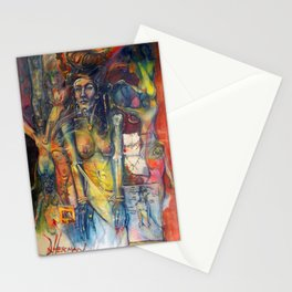 """Phases of Her Mind"" - the flagship painting in the series ""Women and the Golden Rectangle."" Stationery Cards"