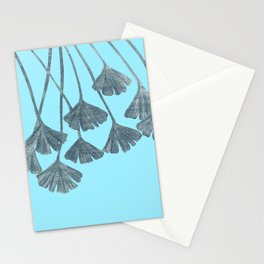 Silver Gingko Leaves Stationery Cards