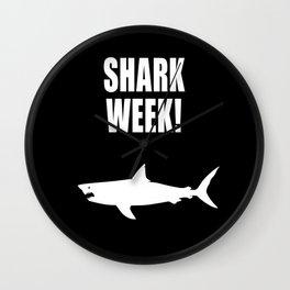 Shark week (on black) Wall Clock