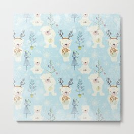 From Bears And Christmas-Cute teal X-Mas Pattern Metal Print