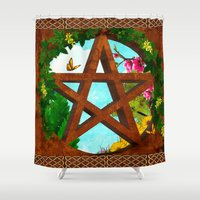 pagan Shower Curtains featuring Oasis Pagan Folk Art by BohemianBound