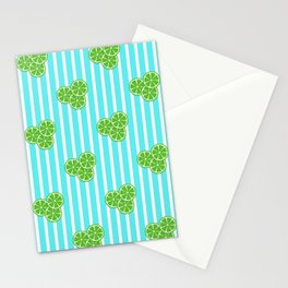 Lime Slices on Aqua Stripes Stationery Cards