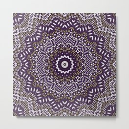 Purple brown mandala Metal Print