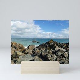 Rocky Ocean View with Cloudy Sky Mini Art Print