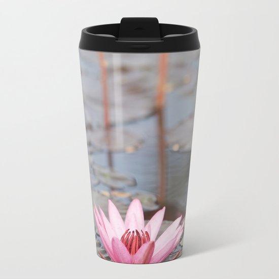Three Lotus Flowers Metal Travel Mug