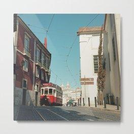 Lisbon red tram, Portugal Analog 6x6 Kodal Ektar 100 (RR 165) Metal Print