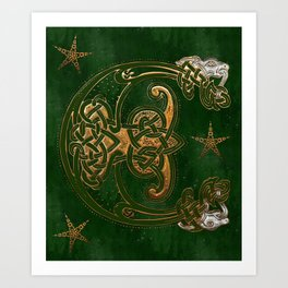 Hunter and Gold Celtic Art Print