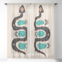 Southwestern Slither in Black Sheer Curtain
