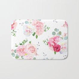 Pink Green Floral Print Bath Mat