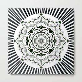 Mandala stripe in black and white Metal Print