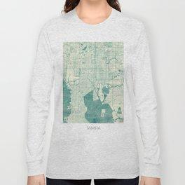 Tampa Map Blue Vintage Long Sleeve T-shirt