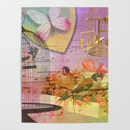 Beautiful Birds & Cages Colorful & Vintage Poster