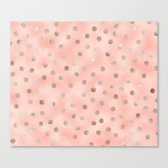 Rosy silver polka dots Canvas Print