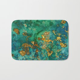 Malachite and Gold Glitter Stone Ink Abstract Gem Glamour Marble Bath Mat